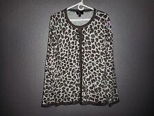 Dennis Basso Long Sleeve Leopard Print Crew Neck Button Front Cardigan Sweater L