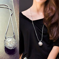 Fashion Women Hollow Pearl Ball Pendant Silver Long Chain Necklace Jewelry Gift