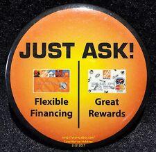 "LMH PINBACK Button Pin HOME DEPOT Slogan JUST ASK Gift Card Credit Rewards og 3"""