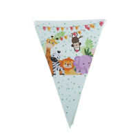 10pcs flags/lot Safari Animals Banner Garland For Kids Birthday Party De fw