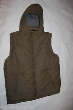 Mens ARMY GREEN QUILTED INSULATED VEST Detach Hood ZIP FRONT 2 Pockets M 38-40