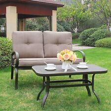 2 Pc Patio Outdoor LoveSeat Coffee Table Set Furniture Bench With Cushions Brown