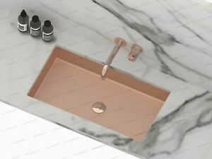 Burnished rose gold copper undermount under mount basin sink hand made Rectangle