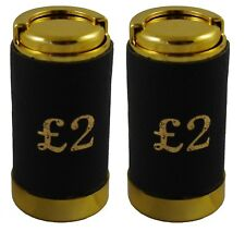 2 x Two Pound £2 Coin Holder Gadget Holds Up to 15 Coins Gold & Black Leather