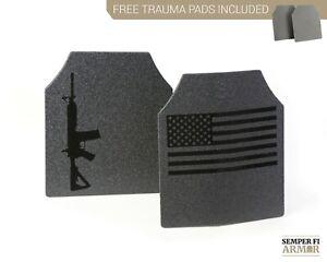 Body Armor AR500 Plates Full Anti Spalling Upgrades 2 Day Ship Free Trauma Pads