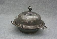 "Van Bergh Silver Plate Co Butter Dish Serving Quadruple Antique Rochester NY 5"""