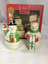 "Lenox China - Holiday Snowcouple Salt & Pepper 4"" Shakers Set - New In Box"