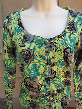 XXI Twist Cardigan Sweater Green Floral Button Front Size S/P