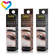 DELIA HENNA Traditional Tint Powder For Eyebrows BLACK BROWN 2g Dye Kit