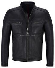 Hombre Clásicos de Moda Cuero Chaqueta Negro Retro Estilo Motero Real Piel De Cordero 4259