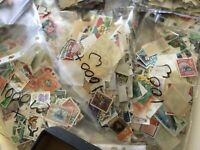 3000 WORLD STAMPS, OFF PAPER, vintage, old/new, franked multi discount