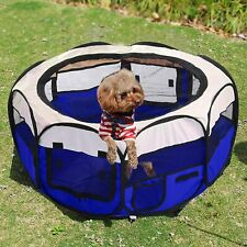 Folding Fabric Pet Play Pen Puppy Dog Cat Indoor Outdoor Free Carry Bag New