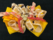 New 6� Custom Boutique Stacked Hairbow Disney World Beauty & Beast Belle Yellow