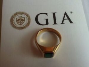 "GIA Certified  Emerald  with 22K  gold Ring 11"" 22K金镶祖母绿戒指带GIA鉴定证书 戒"