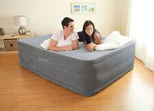 Queen Size Air Bed Mattress Intex 22 Built-In Electric Pump Raised Firm Guest