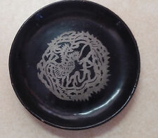 Vintage Lacquer Small Plate Round handpainted Seahorse Design Man Celtic Knot