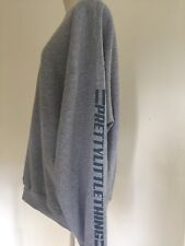 PRETTYLITTLETHING Grey Oversized Sweatshirt with PLT Logo Down the Arm Size M