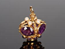 Pompöser Anhänger – Krone – mit XL lila Amethysten und Perlen / Gold 750 massiv