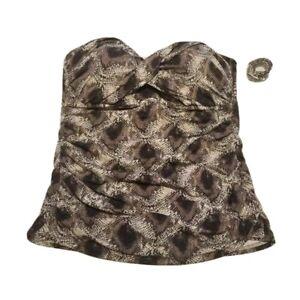 Bleu Rod Beattie Womens Twist Tankini Top Beige Snake Print Ruched 12 New