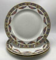 Normandy by Epiag 3 Dinner Plates Czech #5529 Multi-color Floral Swags & Band