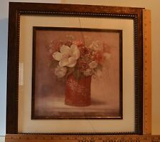 "Framed Flower Painting ""Tradition With A Twist II"" signed by Viv Bowles 18 x 18"