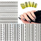 Black Lace Style Nail Art Transfer Foil Nail Sticker Polish Decal Tip Decoration