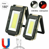 USB Rechargeable XPE+COB LED Work Light Flashlight Torch Magnetic Folding Lamp