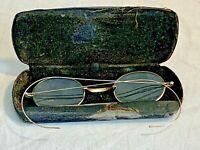 Antique gold filled wire rim prescription eyeglasses reading glasses with case