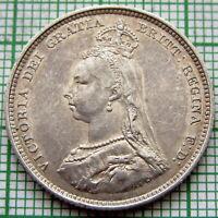 GREAT BRITAIN QUEEN VICTORIA 1887 JUBILEE SHILLING, SILVER HIGH GRADE PATINA