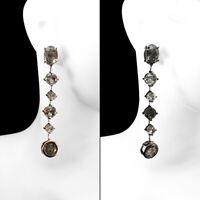 Natural Oval Quartz Black Neeldes Rutile 9x7mm 925 Sterling Silver Earrings