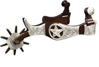 """Western Braune Stahl 5 /"""" Mund Show Bit Graviert Silber Texas Star Concho Neu"""