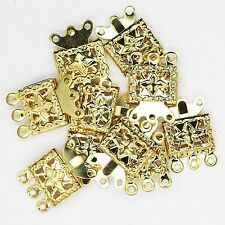 Necklace Clasp Goldtone Triple Strand Filigree Box Style Pack of 10