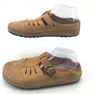 Haflinger Womens 42 Slip On Cutout Casual Clog Comfort Shoes Tan Cork Leather