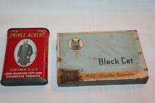 VTG Prince Albert & Black Cat Pipe & Cigarette TobaccoPocket Tinw/ Hinged Lid
