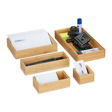 5er Set Ordnungsboxen Bambus, Büro Organizer, Boxen, Schubladen Ordnungssystem