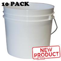 10 PACK 1 Gal Plastic Bucket Pail W/ Handle Heavy Duty Industrial Storage White