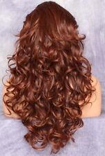 Full Heat OK Curly Long Wig Auburn  mix Bangs Layered Hair Piece 33-130 NWT WBSO