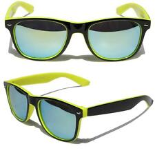 Black Neon Yellow horned rim sunglasses with mirror lens Classic 80's 2 tone
