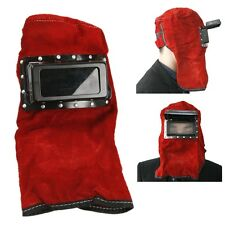 Red Leather Face Neck Protected Lens Glasses Welding Hood Helmet Mask HK C6