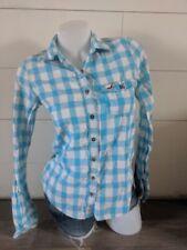 Hollister Pink Aqua Plaid Button down shirt S