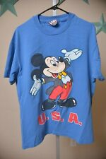 VTG 80s Disney Mickey Mouse Epcot Blue Short Sleeve Shirt Adult M-L OS Made USA