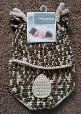 New Baby Hand Crocheted Hat & Diaper Cover Set Newborn - 9M Deer Camo Theme