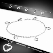 Open Stainless Steel With C Bracelet With Charms Heart Shaped Love