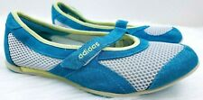 Adidas Fit Foam Wms sz 6 Blue Yellow Gray Leather Mesh Slip On Mary Jane Shoes