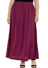 LONG MAXI BURGUNDY SKIRT WITH ELASTIC WAIST SATIN LIKE MATERIAL  Size 22
