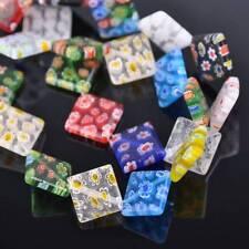 10pcs 14mm Rhombus Millefiori Glass Loose Spacer Beads Craft Findings Lots