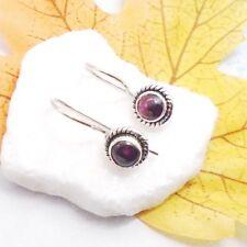 Granat Cabochon rot rund Design Ohrringe Ohrhänger 925 Sterling Silber neu