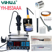 YIHUA 853AAA 3 in 1 BGA Rework Soldering Station Solder Iron w/ Hot Air Gun 220V