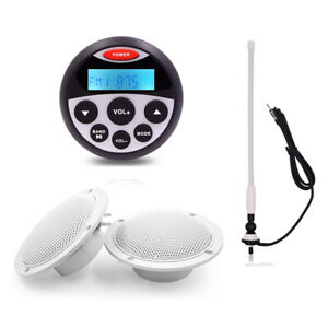 "Marine Radio Bluetooth Audio Stereo Mp3 Player + Boat 4 "" Speakers+FM/AM Aerial"