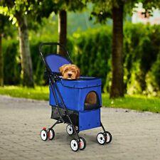 Folding Cat Dog Pets Stroller Front Rear Wheel Basket Cart